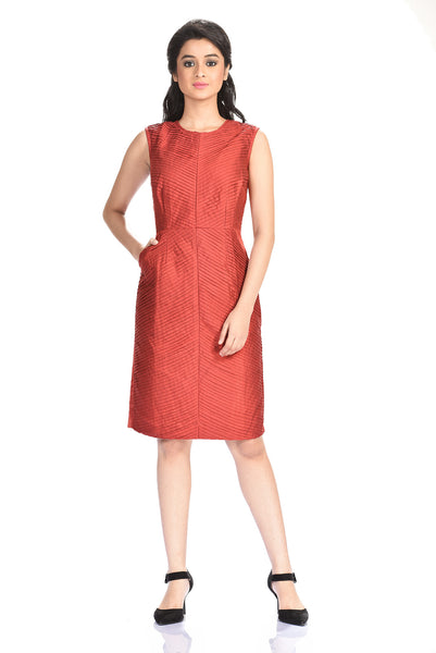 Aaina by Sanchari-Maroon Pleated Sheath Dress