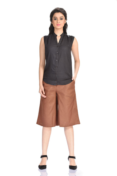 Aaina by Sanchari-Linen Coffee Brown Culottes