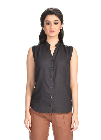 Aaina by Sanchari-Women Linen Black Shirt