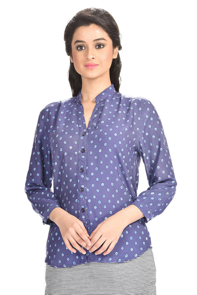 Aaina by Sanchari-Blue Printed Shirt