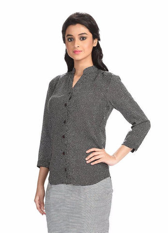Aaina by Sanchari-Polka Dotted Black Shirt