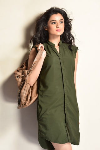 Aaina by Sanchari-Olive Green Shift Dress cum Tunic
