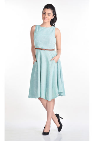 Aaina by Sanchari-Mint Green Skater Dress
