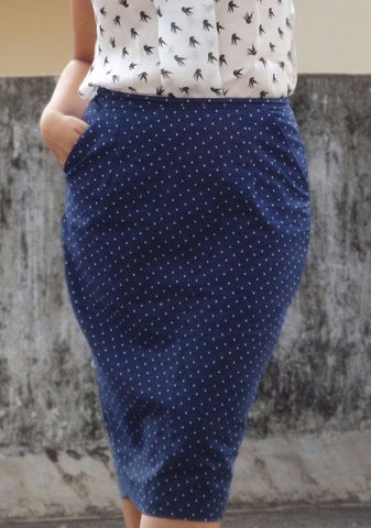 Aaina by Sanchari-Polka Dotted Denim Skirt