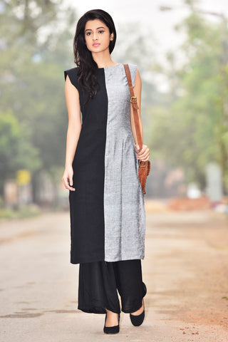 Aaina by Sanchari-Set of Black Grey Kurti and Palazzo