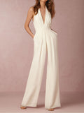 WHITE HOLLOW OUT BACKLESS SEXY JUMPSUIT