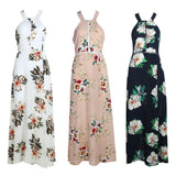 EUROPEAN FLORAL BACKLESS LONG DRESS