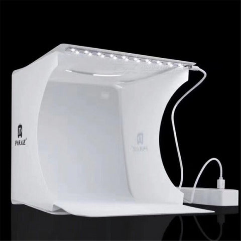 40x40cm Portable Mini Folding Studio Photography Softbox LED Lightbox with Black White Backgound