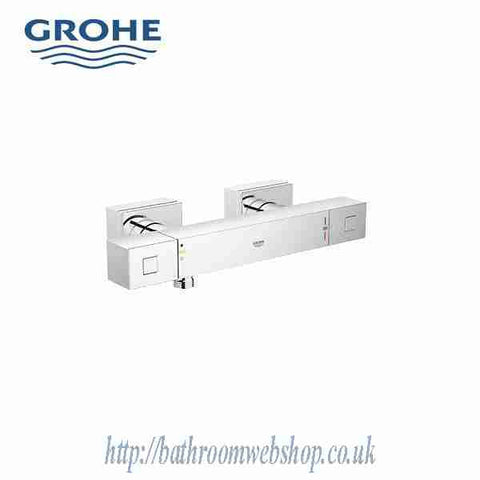 Grotherm Cube Exposed Shower Valve with Slide Rail and Euphoria Cube Hand Shower