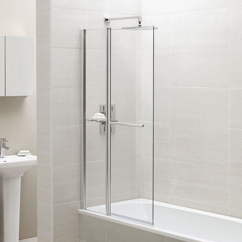 Identiti2 Fixed Panel Square Bath Screen with Towel Rail and Shelf