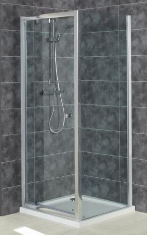 Intro 6mm Toughened Glass Pivot Door & Square Shower Tray Pack