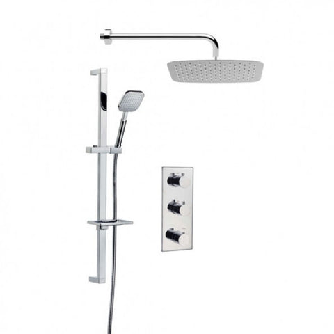 Square Triple Concealed Shower Valve, Square Head, Arm and Slide Rail Kit