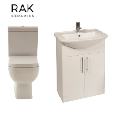 Series 600 WC Inc. Soft Close Seat & Gloss White 550mm Unit & Basin