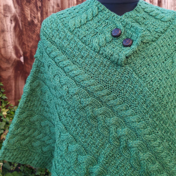 Irish Traditional Knit Merino Poncho A200 658