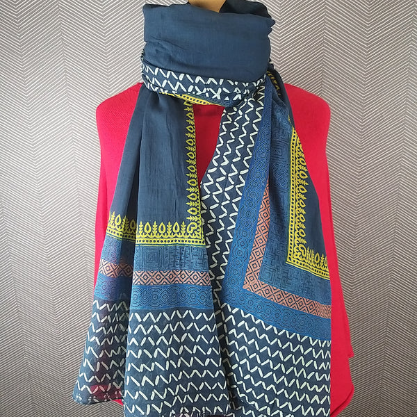 Navy Mix Hand Printed Scarf