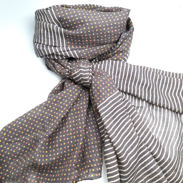 Gorgeous Moody Grey Block Printed Scarf