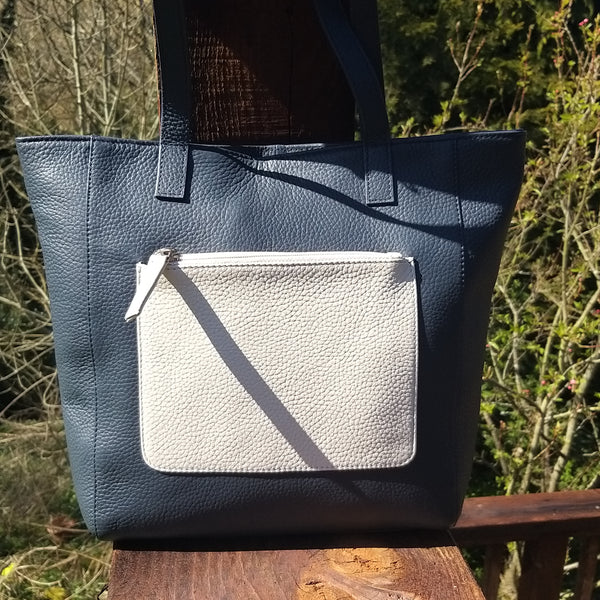 Stylish Leather Navy And Cream Shopper