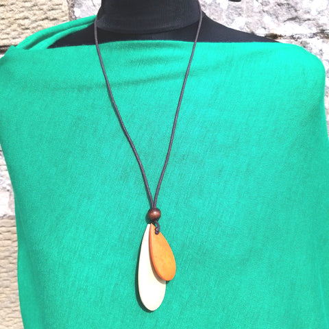 Two Tier Handmade Wooden Necklace