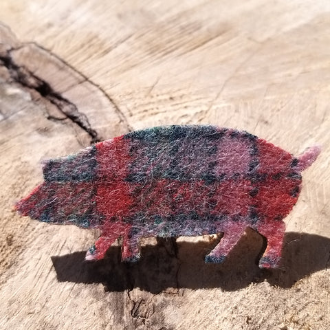 Harris Tweed Pig Brooch