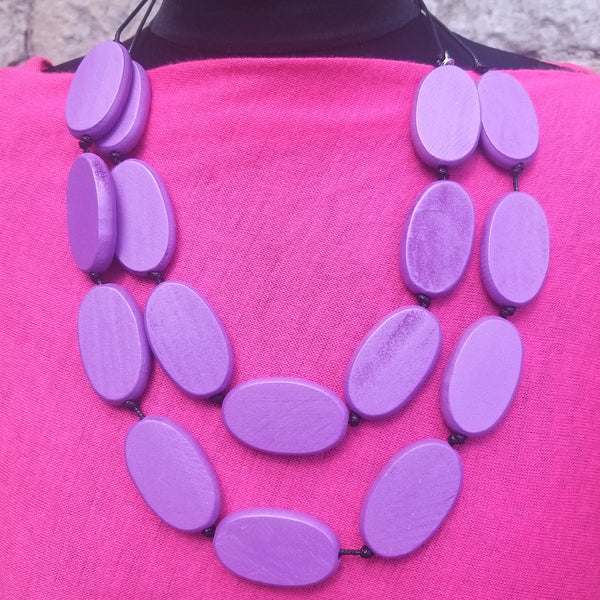 Oval Wooden Shape Necklace