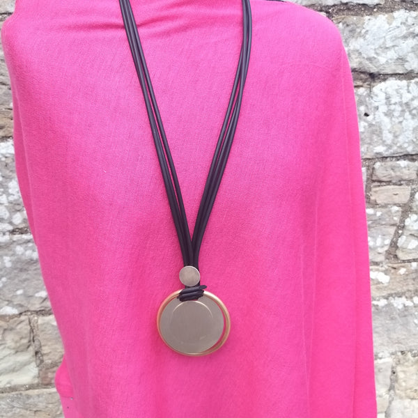 Neoprene Gold Disc Pendant