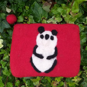 Hand made Felted Panda Purse