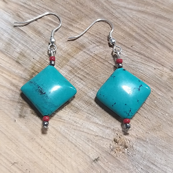 Fairtrade Turquoise Drop Earring