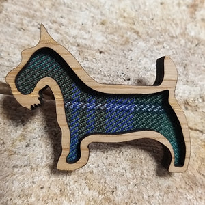 Scottish Tweed Scotty Dog Brooch