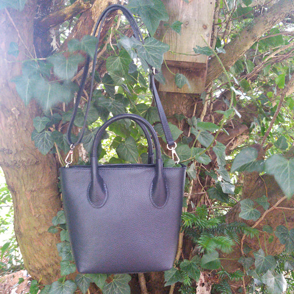 Leather Grab Handbag & Long Strap