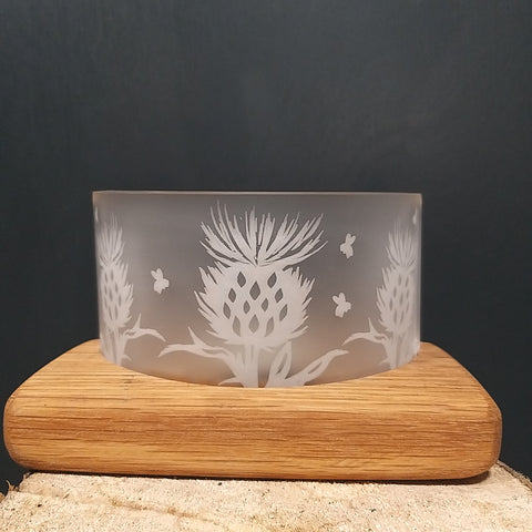 Handcrafted Whisky & Oak Thistle Tealight