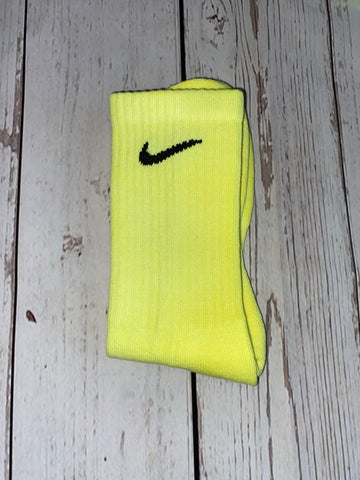 Nike custom neon yellow socks