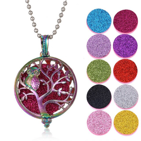 Load image into Gallery viewer, Diffuser Necklace Vintage Colored Antique Owl/Tree of Life