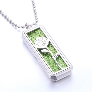 Rectangular Stainless Steel Essential Oil Diffuser Necklace