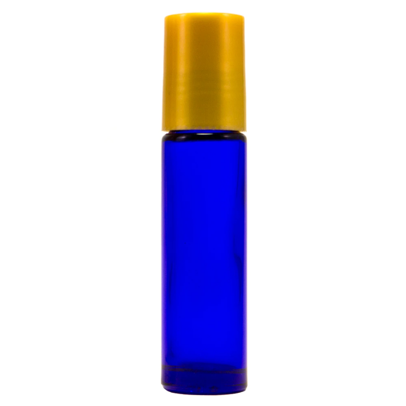 Load image into Gallery viewer, 10 ml Cobalt Blue Roll On Glass Bottle w/ Gold Cap