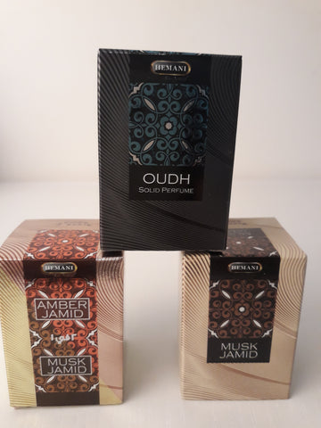 lot de 3 parfums solides: Ambre, musc, bois de santal