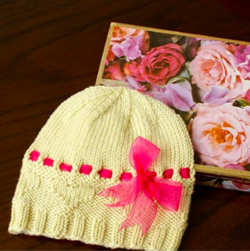 Hearts & Bows Baby Hat Pattern - Natural Fibre Arts