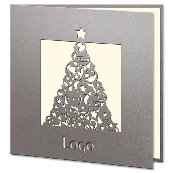 Laser Cut Silver Christmas Tree with Star