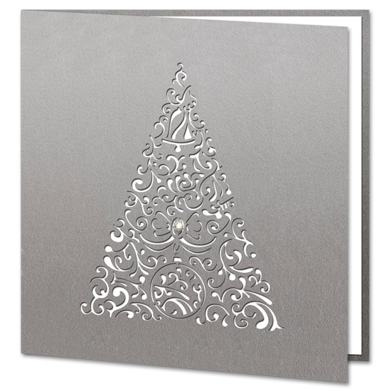 Laser Cut Silver Tree with Swarovski Crystal