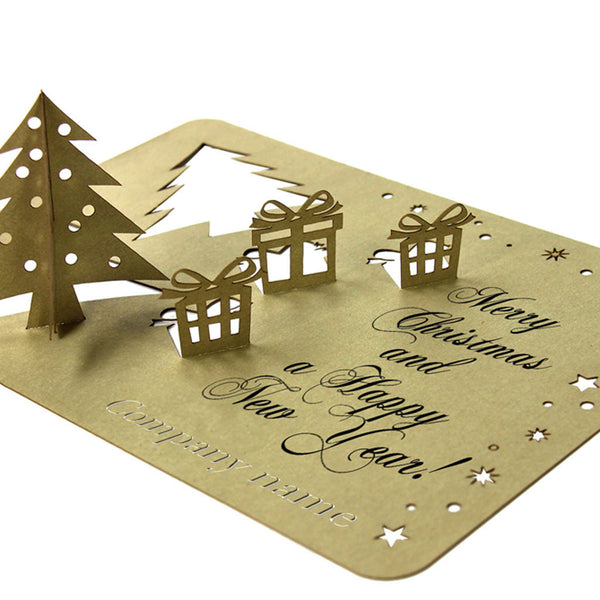 Laser Cut Stand Up Tree and Presents Gold