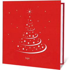Red Textured Christmas Tree Card