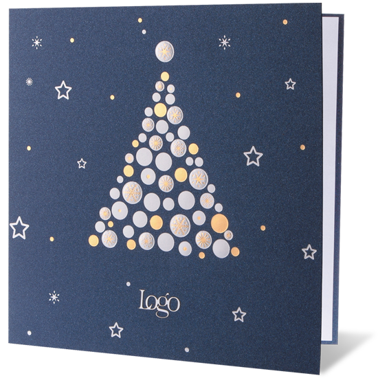 Embossed Navy Blue Christmas Card