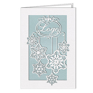 White Metallic Snowflakes Laser Card