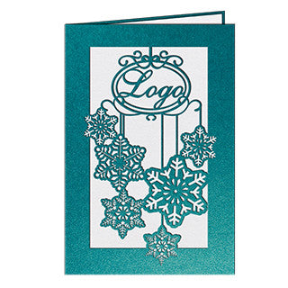 Turquoise Snowflakes Laser Card