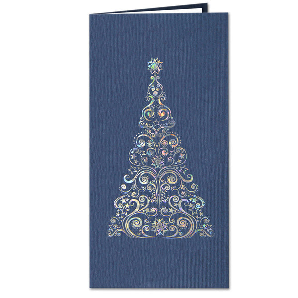 Blue Navy Christmas Tree Card