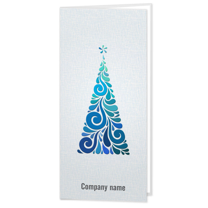 Embossed Blue Christmas Tree