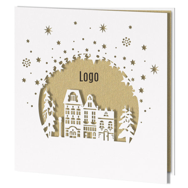 Laser Cut White City with Gold Insert