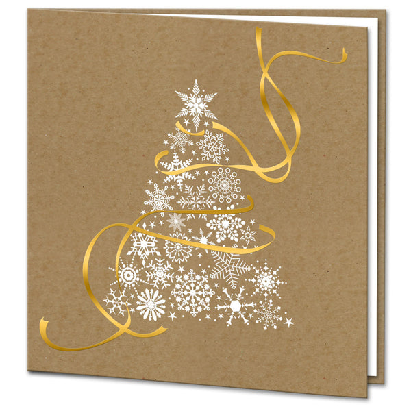 Kraft Gold Foil Ribbon White Foil Christmas Tree