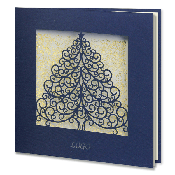 Navy Blue Laser Cut Christmas Tree