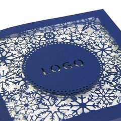 Navy Blue Laser Cut Card With Snowflakes
