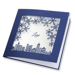 Laser Cut Navy Blue Christmas Card